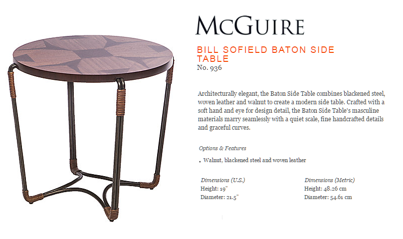 936 BILL SOFIELD BATON SIDE TABLE