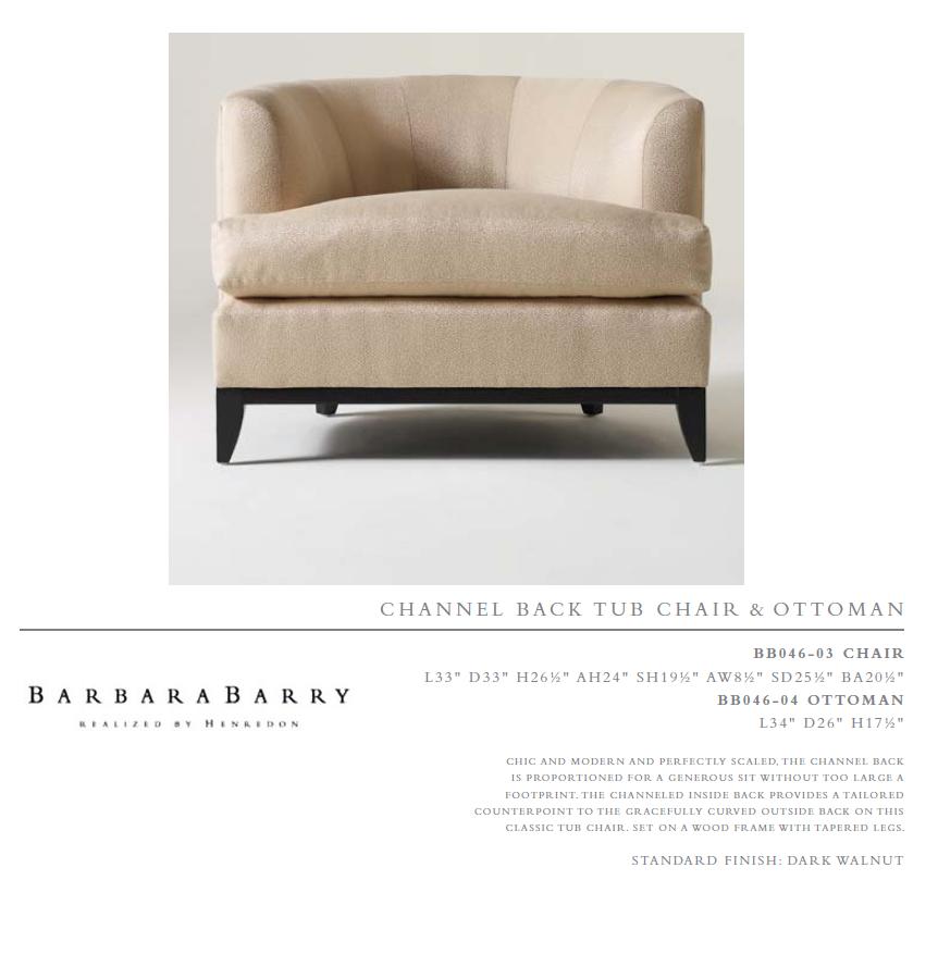 BB046-03 cHA i R  Channel baCk T Ub Chair & oTToMan