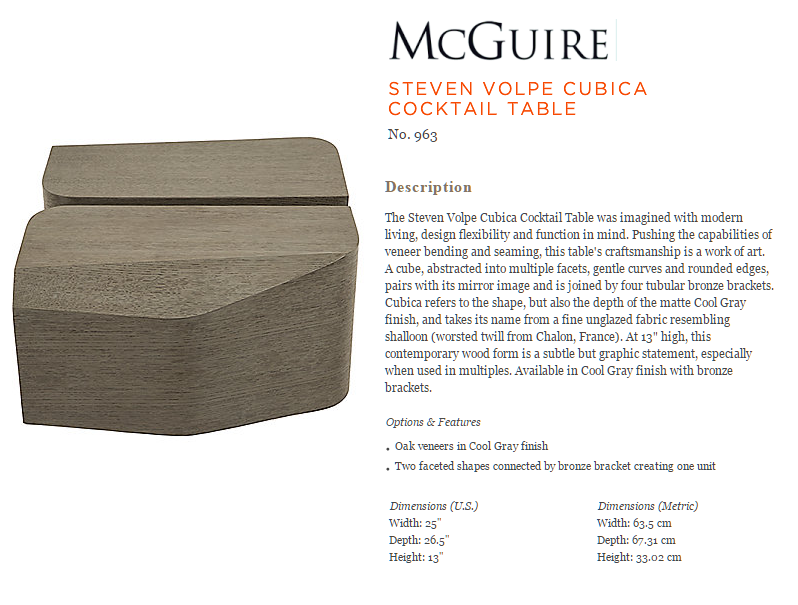 963 STEVEN VOLPE CUBICA COCKTAIL TABLE