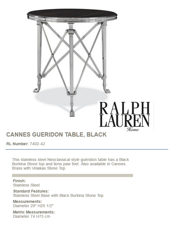 7402-42 CANNES GUERIDON TABLE, BLACK