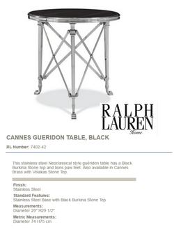 7402-42 CANNES GUERIDON TABLE, BLACK