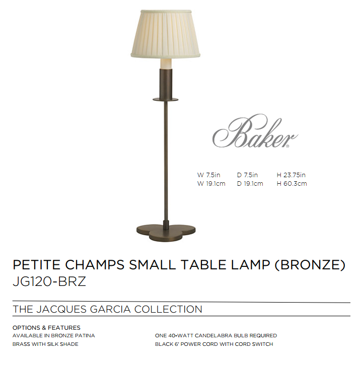 JG120-BRZ PETITE CHAMPS SMALL TABLE LAMP BRONZE