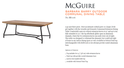 BB-206 BARBARA BARRY OUTDOOR COMMUNAL DINING TABLE