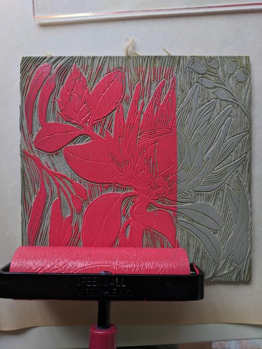 Protea Linocut inked in raspberry