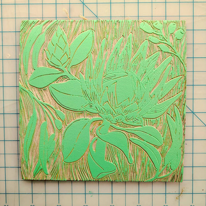 protea linocut inked in mint green