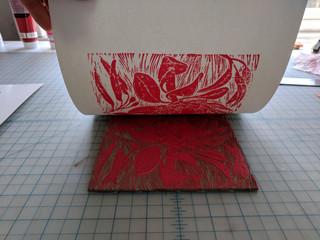 Pressing in progress- Protea Linocut