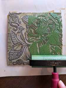 inking the magnolia linocut in green