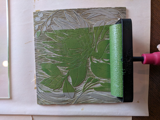 inking the protea linocut in green
