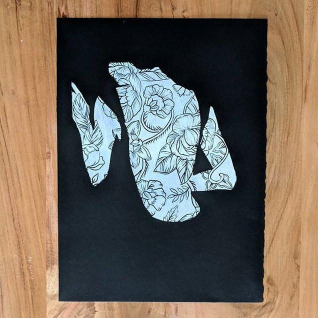 _Batik U Body_, 11x14_ in white ink on b