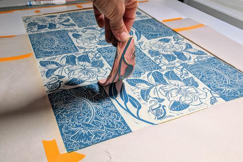 final touch on the Batik Floral Pattern print