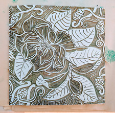 Magnolia linocut inked in white