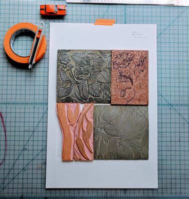 Linocut and SpeedyCarve layout before pressing