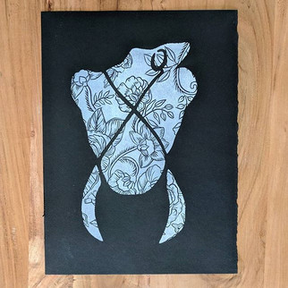 _Batik X Body_ , 11x14_ in white on blac