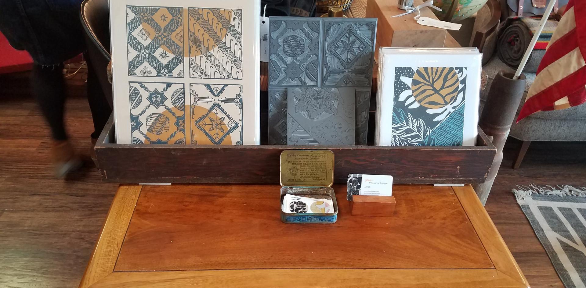 Linocut display, and Batik prints
