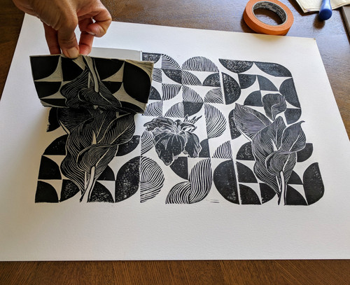 trio of water canna flower and leaves in black- printing