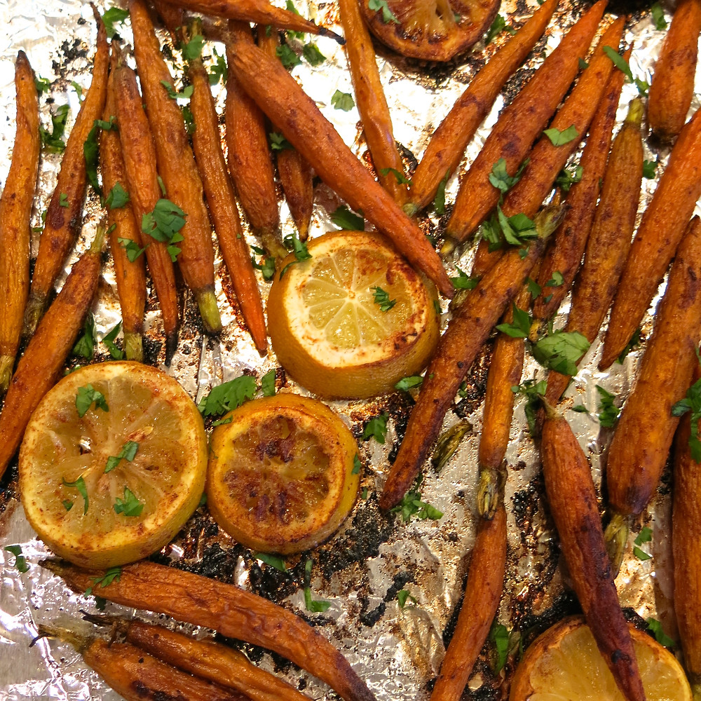 Spicy Lemon Roasted Carrots