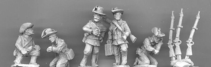GC08 Colonial German Gunners:- Five Gunners and 3 rifles.
