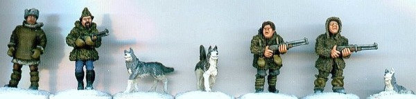 MP 05 Four Trappers in Winter Gear with 3 dogs