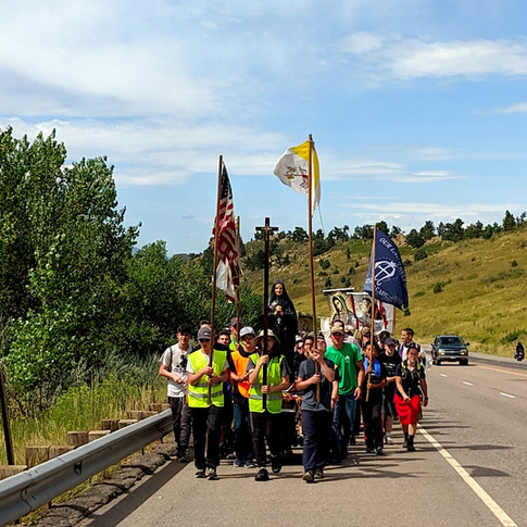 Young men leading the pilgrimage
