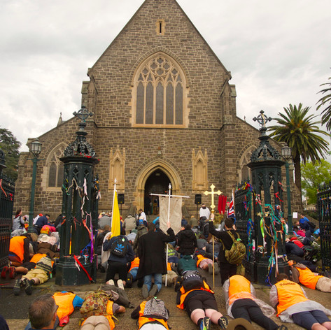 It's an age-old tradition for pilgrims to receive a pre-pilgrimage blessing prostrated next to their bags and staffs.
