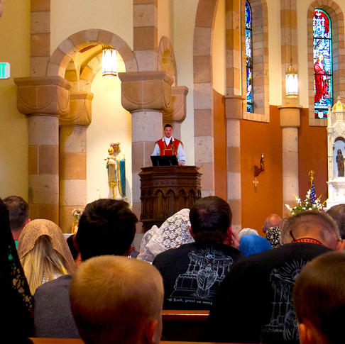 Father Boyle giving the final sermon