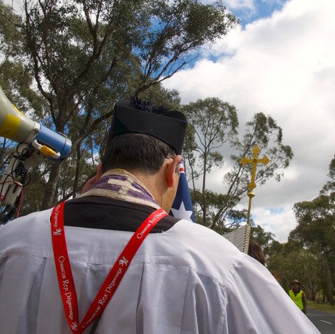 Fr Rowe is an exceptional example. He feeds us spiritually with song and prayer throughout the pilgrimage.