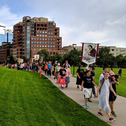 After walking through downtown Denver, our spirits were high