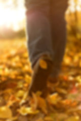 Man boots in fallen autumn leaves. Step