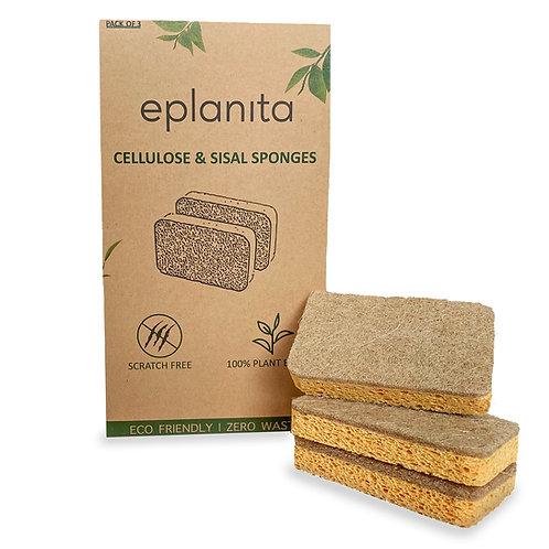 eplanita Natural Plant Based Scrub Sponges (3 Pack)
