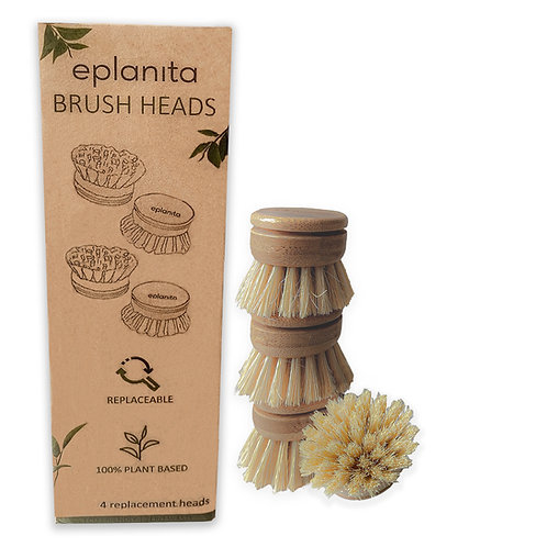 Replacement Brush Heads (Pack of 4) for Bamboo Dish Brush
