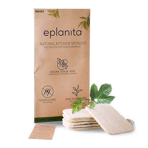 eplanita Natural Dishwashing Sponges (Pack of 6)