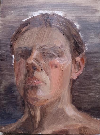 10 minute self portrait, Oil, 10 x 15 cm.
