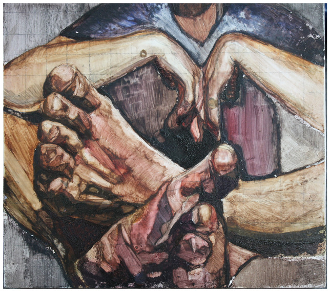 Detail, Feet. Mixed media, Gesso Board 15 x 20 cm