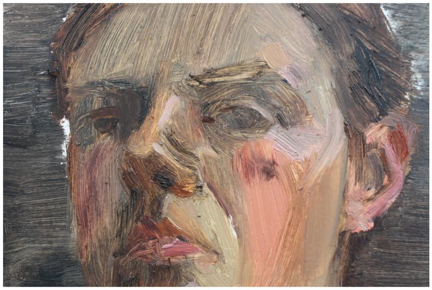 Detail, Quick self portrait, oil