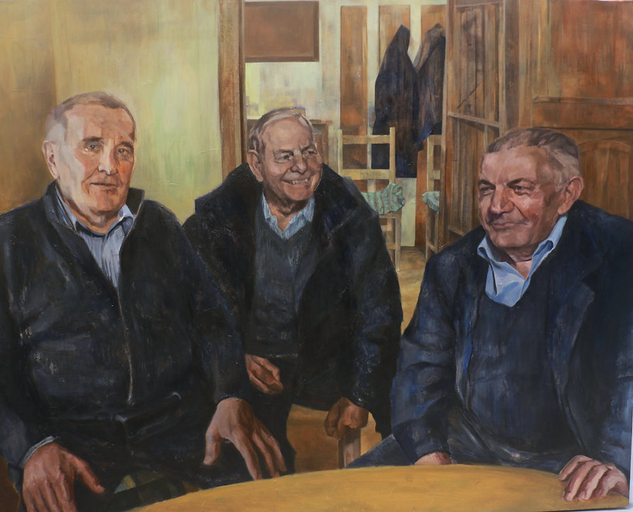 painting by sofia greaves of three men