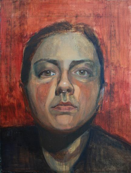 Self portrait, Oil, 10 x 15 cm