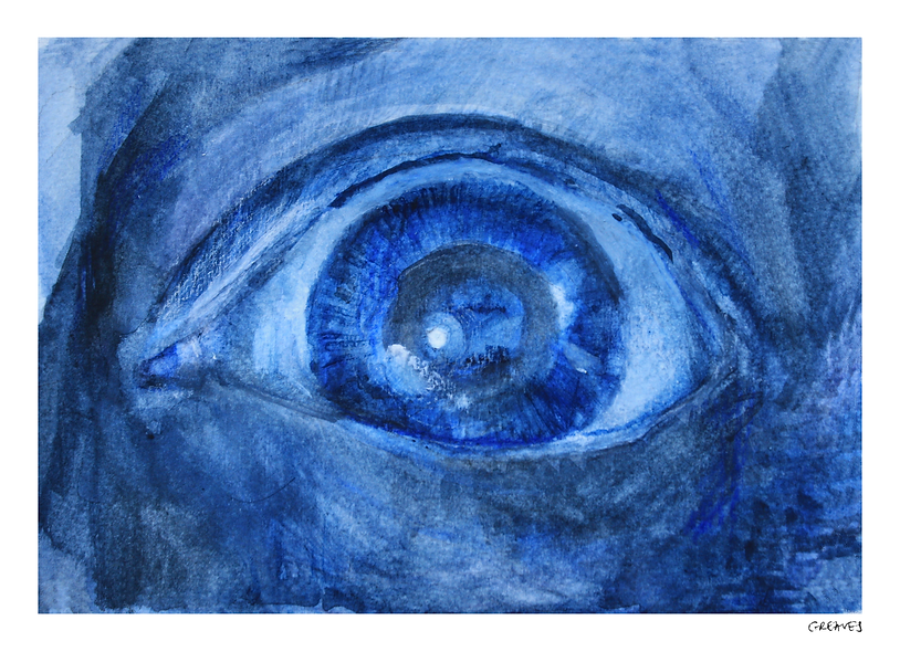 Painting of an eye from poem Ancient Mariner