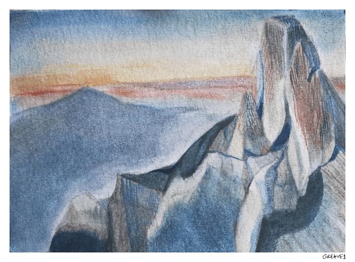 Watercolour postcard mountain top