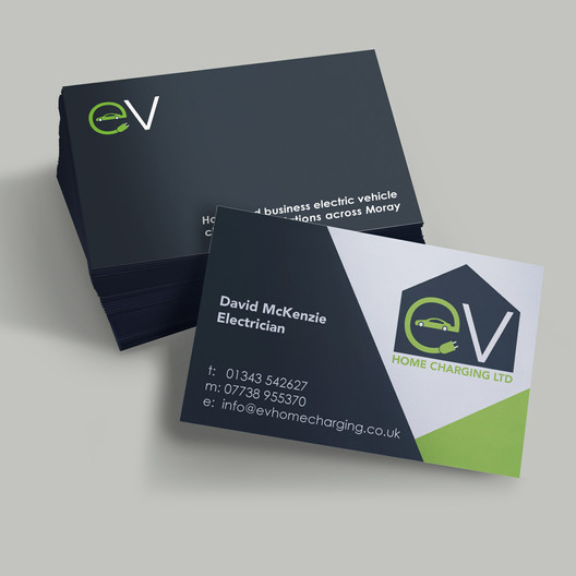Logo Creation and Business Card Design for EV Home Charging, Elgin by Studio Marly