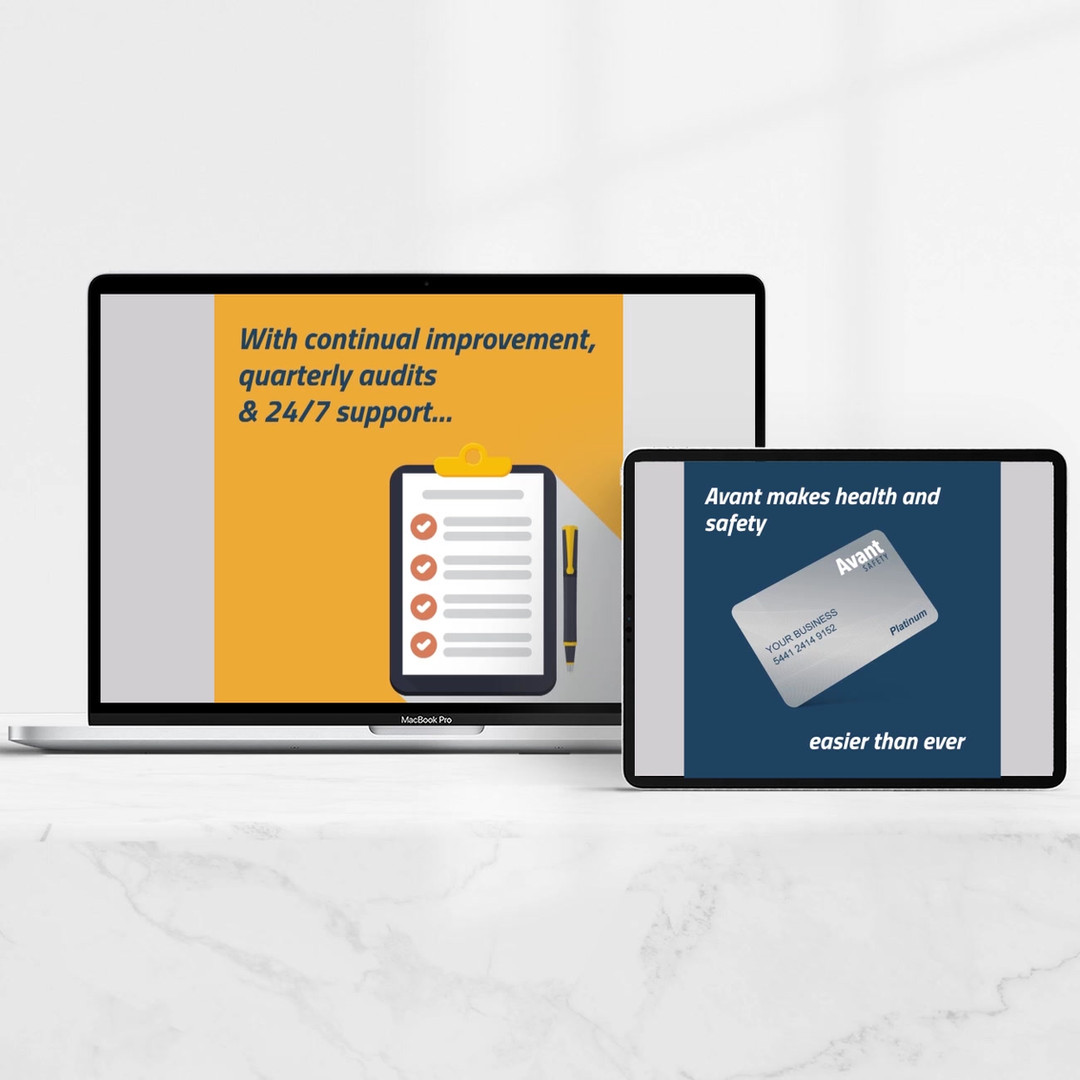 Avant Safety Motion Graphics, Landing Page and Loyalty Card Design