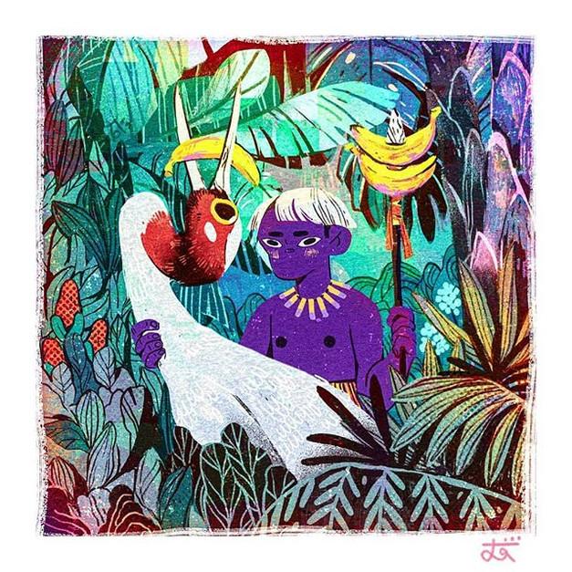 Banana Boy and Red-Headed Crane