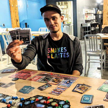 Lander playtester at Snakes & Lattes board game cafe