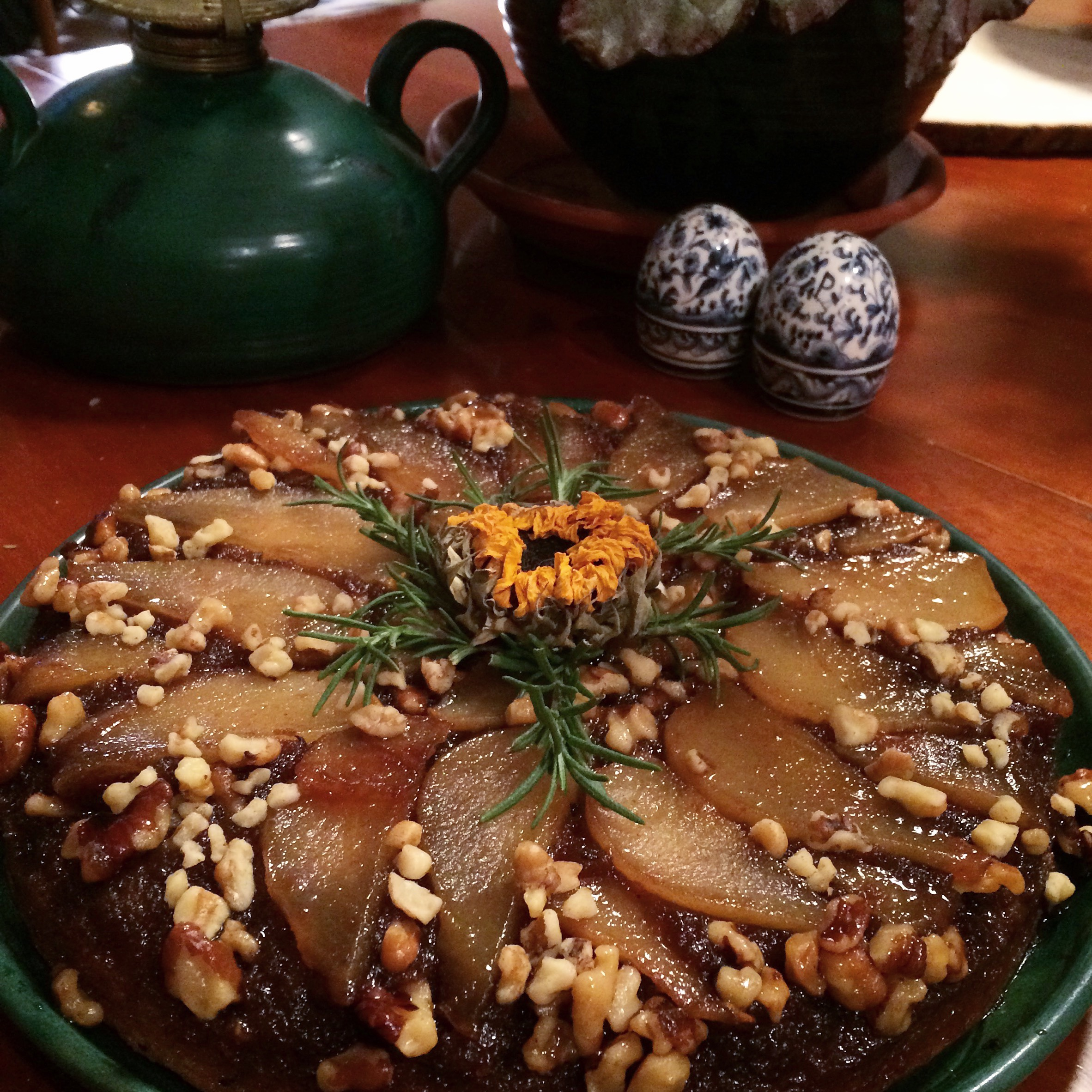 Pear Rosemary Upside Down Cake