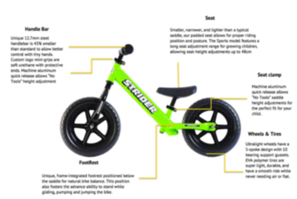 Detailed discribsion of the Strider Sports model