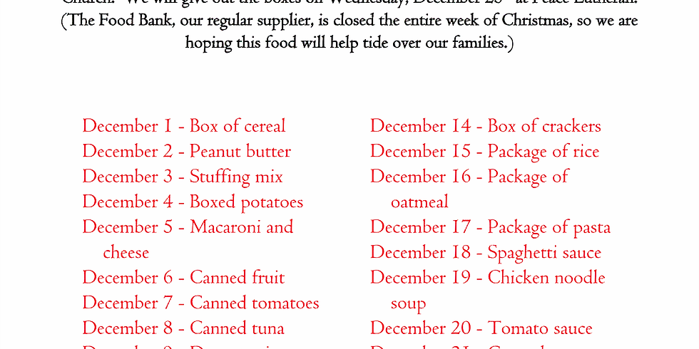 Reverse Advent Calendar: Food Box Delivery