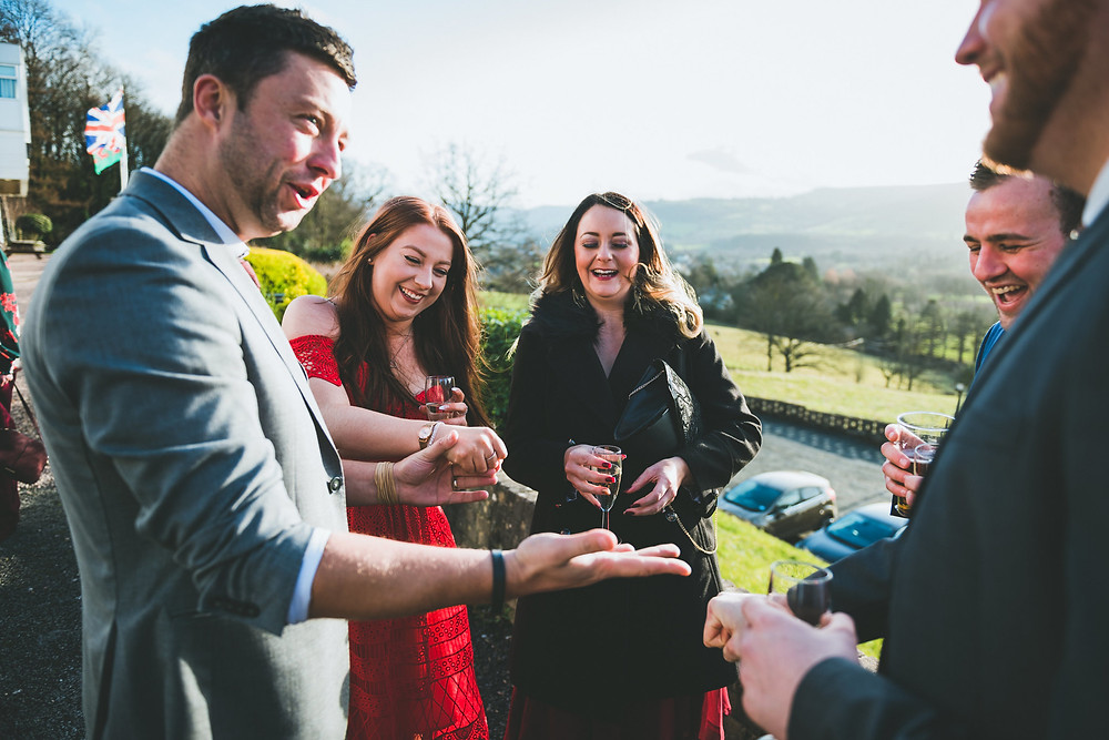 Cardiff magician James Hawker performs as a wedding magician