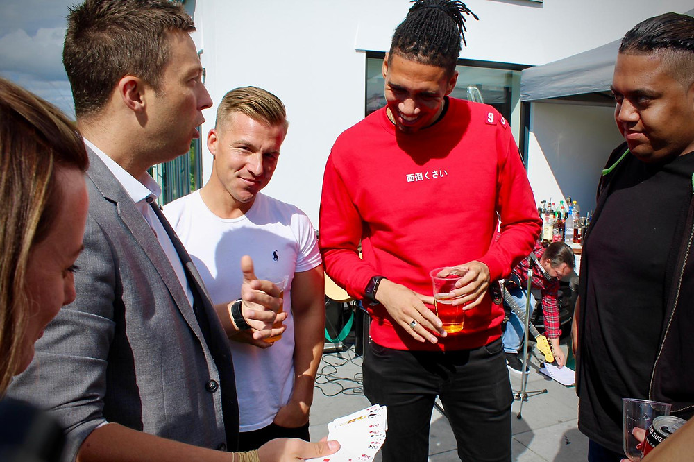 Cardiff magician and wedding magician performs for Chris Smalling at a garden party in Bridgend