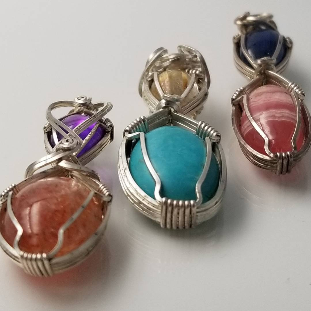 gemstone pendants, Chris Brower