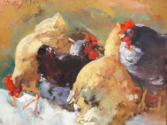 Chickens Roosting on a Fence