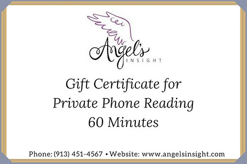 Gift Certificate Private Phone Reading 60 Min